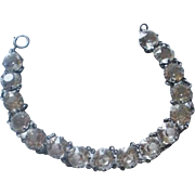 Art Deco Era Sterling Open Backed Crystal Bracelet