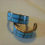 Sterling Turquoise Inlay Hoop Earrings