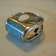 Heavy Sterling Turquoise Ring ~6