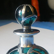 Solid Silver 1000/1000 Fine Overlay Green Glass Perfume Bottle
