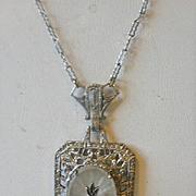 Sterling Camphor Glass Diamond  Necklace