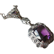 Sterling Filigree Synthetic Amethyst Necklace