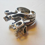 Fabulous Artist Marked 925 Silver Modernist Ring~ 8