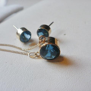 Art Deco Style 14k London Blue Topaz  Necklace and Earring Set