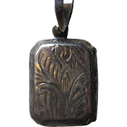 Vintage Etched Sterling Rectangular Locket