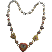 Marked Italy Micro Mosaic Heart Necklace