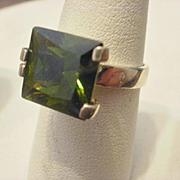 Modernist Peridot CZ Sterling Ring ~8 1/4