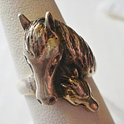 Sterling Mother and Child Horse Head Ring ~8