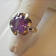Vintage Mexico Sterling Amethyst Ring ~ 5 1/2