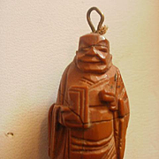 Chinese Carved God of Fortune Olive Wood Pendant