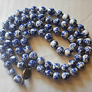 Hand Knotted Chinese Blue and White Porcelain Bead Necklace