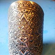 "Vintage 4"" Wide 900 Silver Figural Mayan Sun Faces Cuff Bracelet"