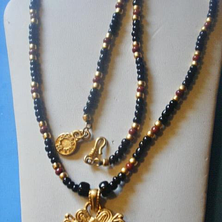 1980's Colombian 24k Plated Onyx Carnelian Warrior Necklace