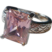 Pink and Clear CZ Sterling Ring ~7 1/2
