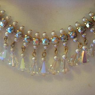 Fabulous Rhinestone Crystal Glass Pearl Bib