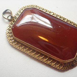 Large Vintage Carnelian Glass Gilt Brass Pendant