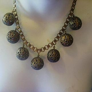 Art Deco Era Filigree Brass Drops Book Chain Necklace