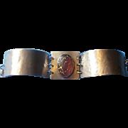 Vintage Hand Made and Hammered Sterling Art Glass Bracelet