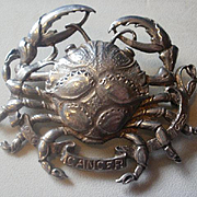 "Large Cini Sterling ""Crab"" Cancer Astrological Brooch"