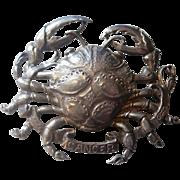 "Large Cini Sterling ""Crab"" Cancer Astrological Brooch"
