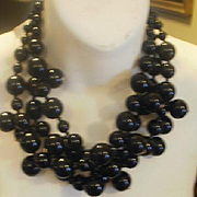 Vintage Kenneth Lane Three Strand Chunky Black Lucite Necklace