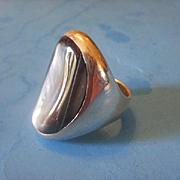 Large UniSex South Western Sterling Saddle Style Ring