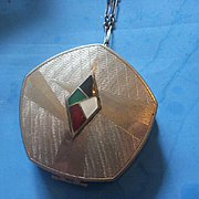 Art Deco Era Enamel Compact on Chain
