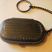 Vintage Gun Metal Coin Case with Finger Ring