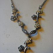 Sterling Marcasite CZ Flower Necklace