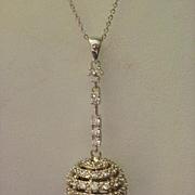 Joseph Esposito Disco Ball Sterling CZ Pendant Necklace in Box