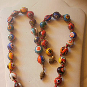 Retro Era Millifiori Bead Necklace