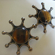 Vintage Sterling Mexico Tigers Eye Sun Burst Earrings