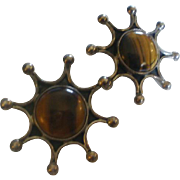 Vintage Sterling Mexico Tigers Eye Sun Burst Earrings