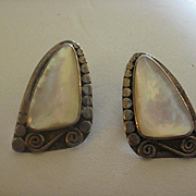 Vintage Sajen Sterling Mother of Pearl Earrings