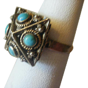 Vintage Gold Washed Silver Turquoise Fob Ring~ 6 1/2