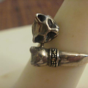 Sterling Marcasite Mother and Child Cat Ring~8