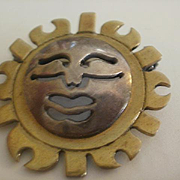 Metales Sterling Brass Sun Burst Pendant/Brooch