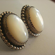 Artist Marked M. Sky Polished Shell Sterling Earrings