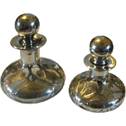 Two Antique LaPierre Sterling Overlay Perfume Bottles