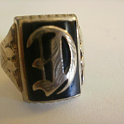 "Victorian Era 10k Onyx Ornate Initial ""D"" Ring  8 1/2"