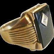 Art Deco Era 10k Onyx Diamond Mans Ring ~ 10 1/2