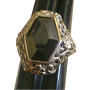 Sterling Filigree Fancy Cut Hematite Ring 8 1/2