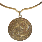Large  Artist Marked Sterling Mexico Torque Necklace & Pendant
