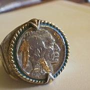 Men's Sterling Enamel Buffalo Nickel Ring~ 14 1/2
