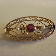 Gorgeous 10k YG Ruby Pearl Filigree Pin