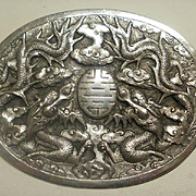 Fabulous Large Repousse Vintage Indochina Handmade Silver Brooch