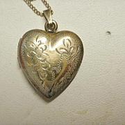 Vintage Etched Gold Filled Heart Locket