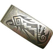 "HopiCraft Artist Marked Sterling Overlay ""Parrot"" Money Clip"