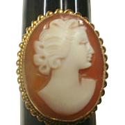 Vintage Birmingham England 9ct Gold Large Shell Cameo Ring ~ 7 3/4