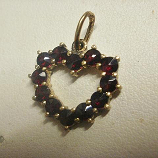 Sterling Vermeil Bohemian Garnet Heart Pendant Charm